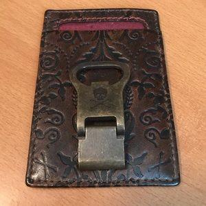 NEW ID/CARD Leather Money Clip w/Skulls